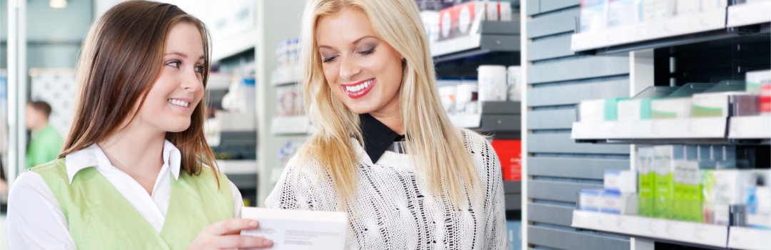 pharmacist and woman talking